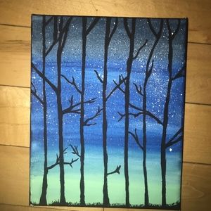 Forest Night Silhouette Painting